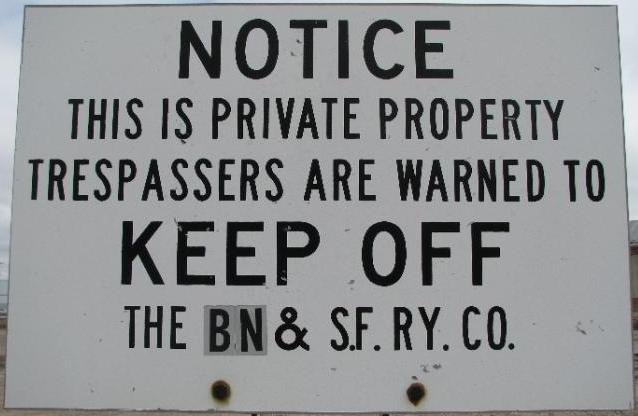 Railroad Trespassing Sign