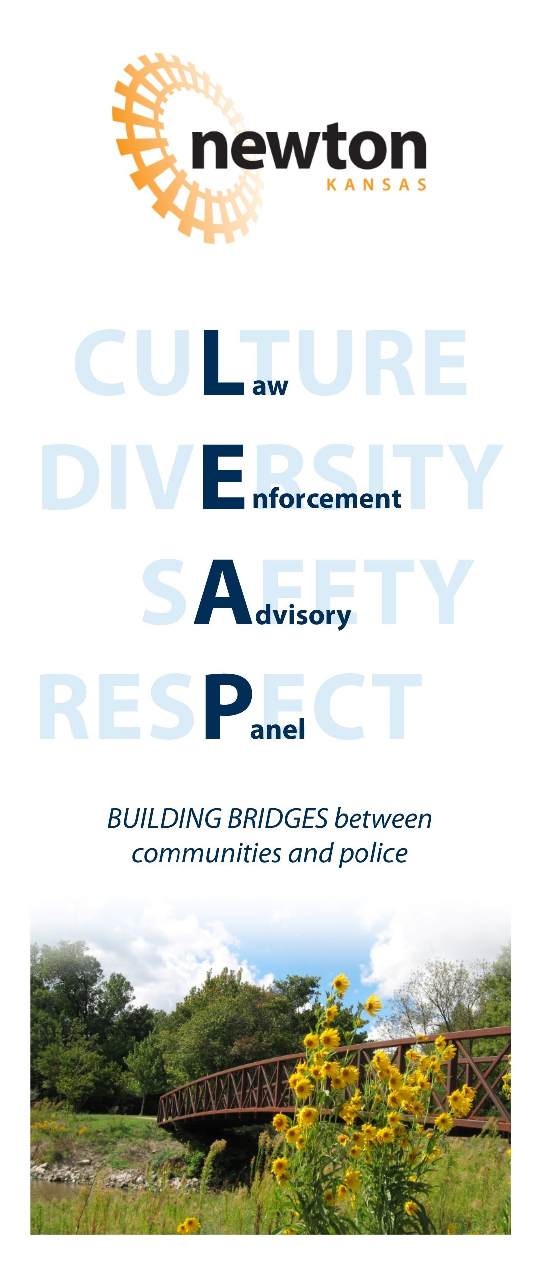 LEAP brochure. Text: Culture, Diversity, Safety, Respect; Building Bridges between Communities and Police